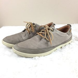 Ecco Gray Leather Oxford Shoes 8
